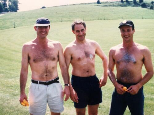 Bare chested men